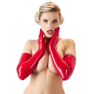 Gants longs en latex rouge The LateX - Lingerie BDSM Malins-Plaisirs